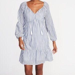 Puff-Sleeve Tiered Stripe Midi Swing Dress in MP